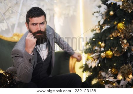 Bearded Elegant Man In A Suit At New Year's Eve Sittin In A Chair. Pensive Man With A Beard In A Gra