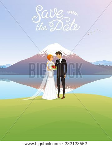 Bride And Groom And Mountains. Wedding Ceremony By The Sea. Newlyweds, Valentines Day. Vector Illust