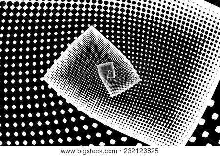 Monochrome Abstract Futuristic Halftone Pattern.kaleidoscope Background. Dotted Backdrop With Circle