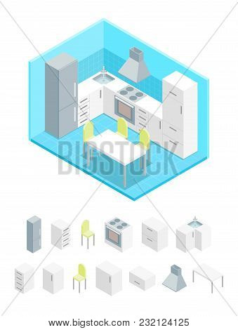Interior Kitchen With Furniture And Elements Part Isometric View Domestic Room With Table, Stove, Ch