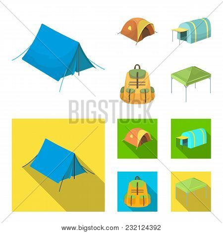 Backpack And Other Kinds Of Tents.tent Set Collection Icons In Cartoon, Flat Style Vector Symbol Sto