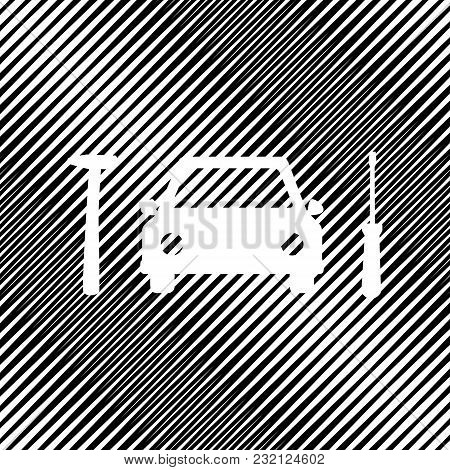 Car Tire Repair Service Sign. Vector. Icon. Hole In Moire Background.