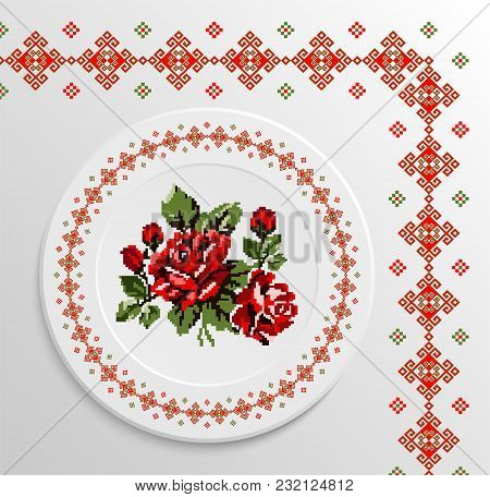 Table Appointments In Restaurant.. Decorative Plate With Round Ethnic Ornament And Rose Bouquet. Ukr