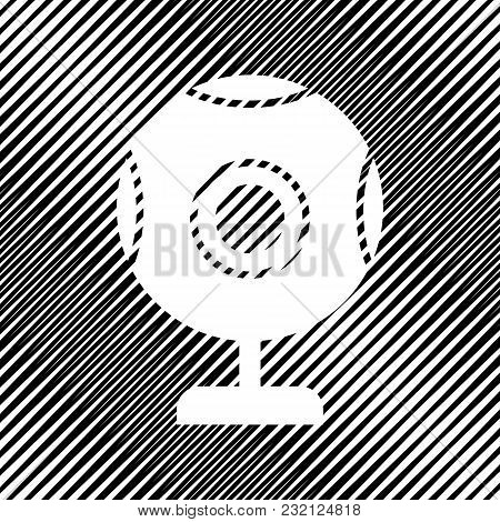 Chat Web Camera Sign. Vector. Icon. Hole In Moire Background.