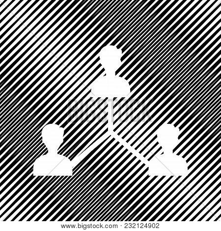 Social Media Marketing Sign. Vector. Icon. Hole In Moire Background.