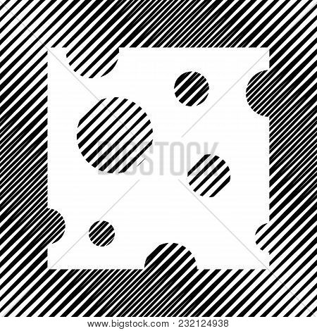 Cheese Slice Sign. Vector. Icon. Hole In Moire Background.