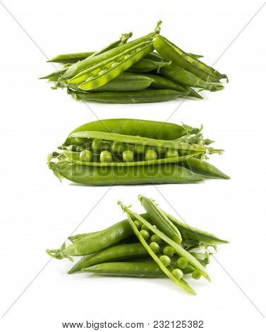 Set Of Green Peas. Green Peas Isolated On A White Background. Vegetables With Copy Space For Text. F