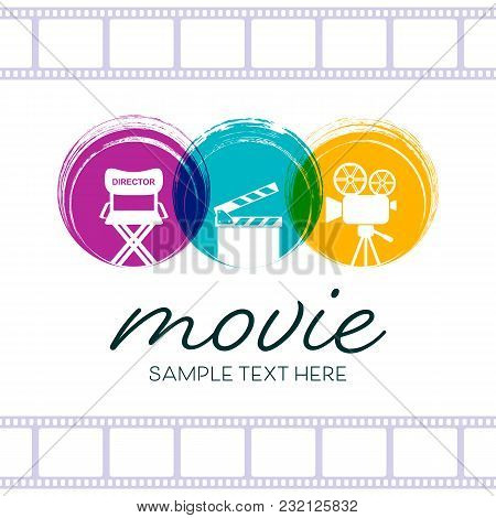 Abstract Cinema Poster Design With Retro Movie Signs