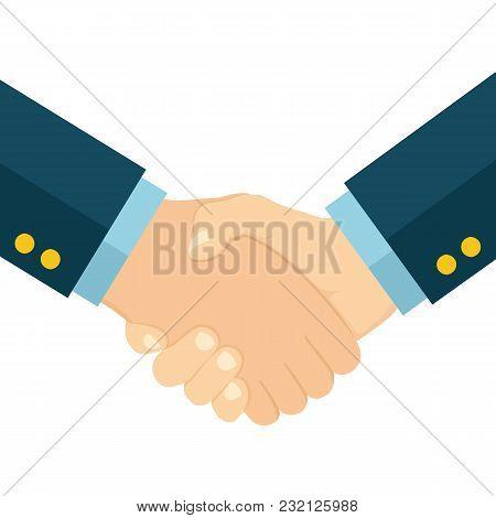 Handshake Of Business Partners. Flat Style - Stock Vector.