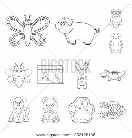 An Unrealistic Outline Animal Icons In Set Collection For Design. Toy Animals Vector Symbol Stock Il