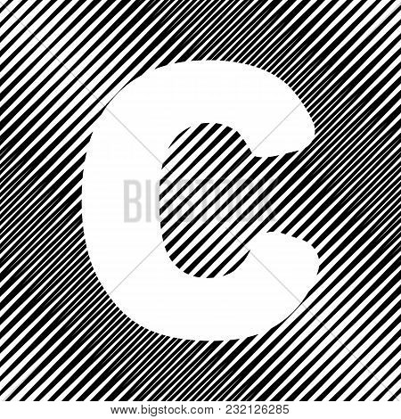 Letter C Sign Design Template Element. Vector. Icon. Hole In Moire Background.