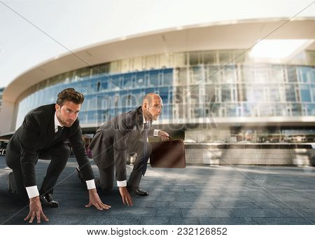 Two Businessmen Ready To Challenge Each Other At Work