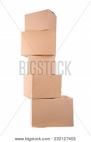 Stack Of Cardboard Boxes Isolated In White