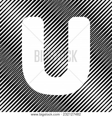 Letter U Sign Design Template Element. Vector. Icon. Hole In Moire Background.