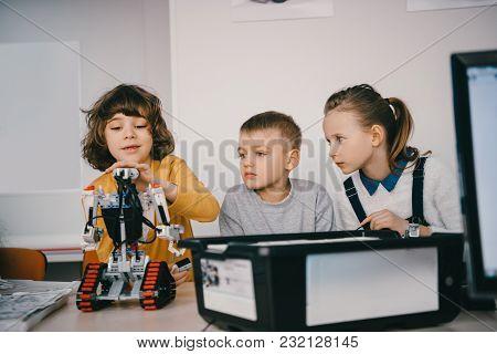 Teen Kids Constructing Diy Robot, Stem Education Concept