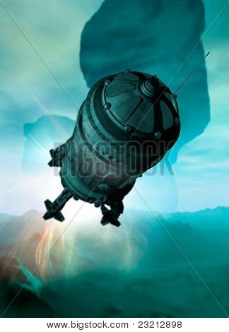 Spaceship Landing On Planet Surface