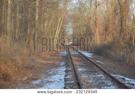 Railroad Tracks In Rural Area In Winter