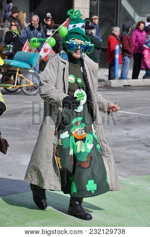 OTTAWA, CANADA - MAR. 10, 2012: People in Saint Patrick's Day Parade in Ottawa, Canada.