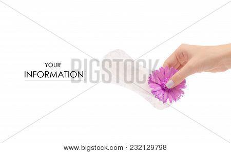 Female Hand Sanitary Napkin A Flower Pattern On White Background Isolation