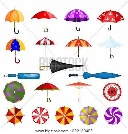 Umbrella Vector Umbrella-shaped Rainy Protection Open Or Closed And Parasol Illustration Set Of Prot