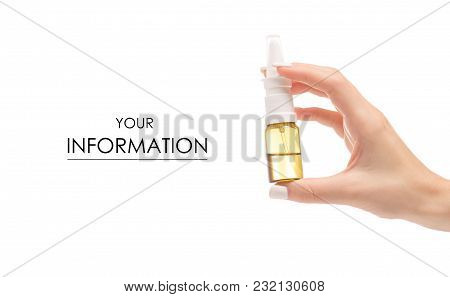 Female Hands Medicine Nose Spray Pattern On White Background Isolation