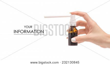 Spray For Throat In Hands Medicine Health Pattern On White Background Isolation