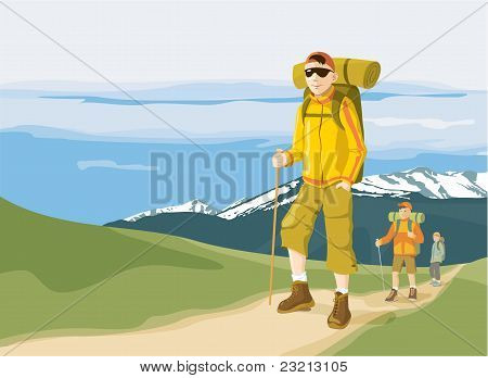 Hikers on mountain path