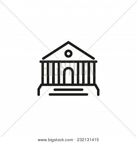 Bank Building Line Icon. Exchange, Financial Institution, Brokers Board. Finance And Banking Concept