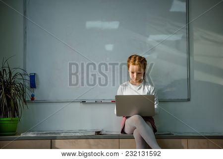 Concentrated Little Child Working With Laptop In Front Of Whiteboard