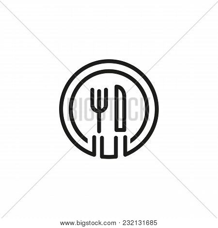 Icon Of Plate And Cutlery. Cafe, Restaurant, Meal. Catering Concept. Can Be Used For Topics Like Ser
