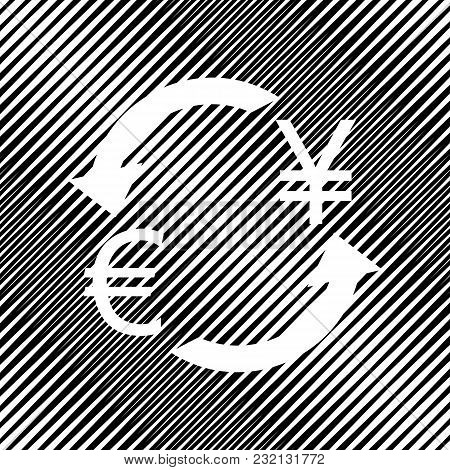 Currency Exchange Sign. Euro And Japan Yen. Vector. Icon. Hole In Moire Background.