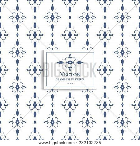 Beautiful Blue And White, Geometric Seamless Pattern. Ornament, Minimal. Traditional, Ethnic, Arabic