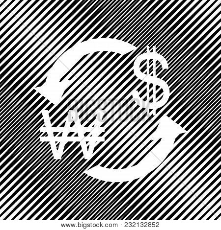 Currency Exchange Sign. South Korea Won And Us Dollar. Vector. Icon. Hole In Moire Background.