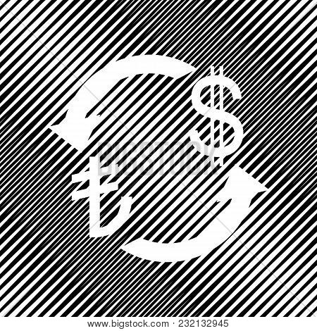 Currency Exchange Sign. Turkey Lira And Us Dollar. Vector. Icon. Hole In Moire Background.
