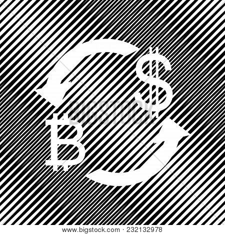 Currency Exchange Sign. Bitcoin And Us Dollar. Vector. Icon. Hole In Moire Background.