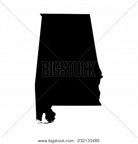 Map Of The U.s. State Alabama On A White Background
