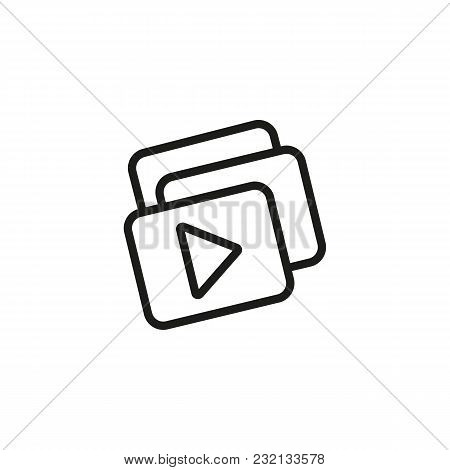 Video Playlist Line Icon. Media, Player, Gallery. Video Content Concept. Can Be Used For Topics Like