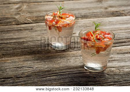 Summer Fruit Drinks. Fresh Lemonade With Oranges Pieces On Rustic Wooden Background.