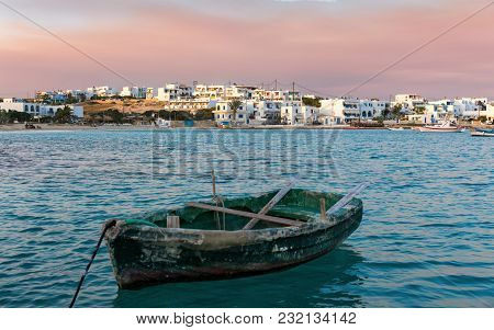 View To The Village Of Pano Koufonisi During Sunset, Small Cyclades, Greece