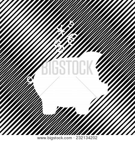 Piggy Bank Sign With The Currencies. Vector. Icon. Hole In Moire Background.