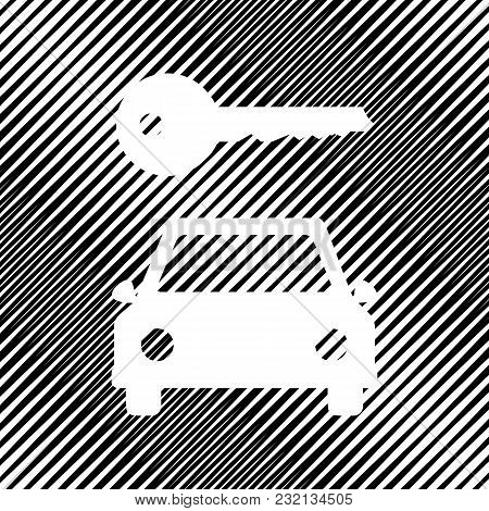 Car Key Simplistic Sign. Vector. Icon. Hole In Moire Background.
