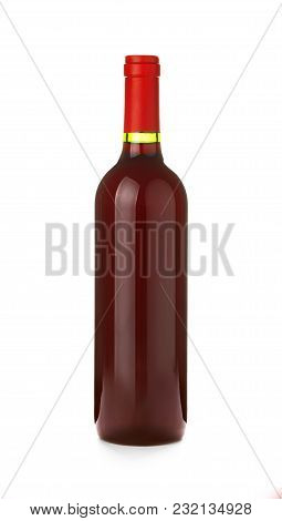 Close Up One Full Unopen Glass Bottle Of Red Wine Without Label Isolated On White Background, Low An