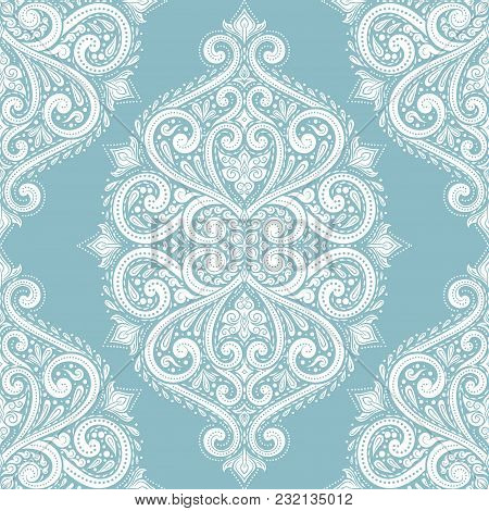 Light Blue And White Ornamental Seamless Pattern. Vintage, Paisley Elements. Ornament. Traditional,