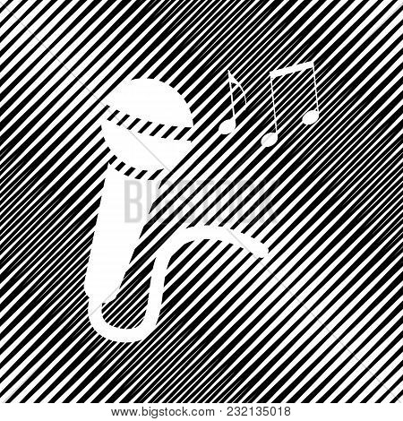 Microphone Sign With Music Notes. Vector. Icon. Hole In Moire Background.