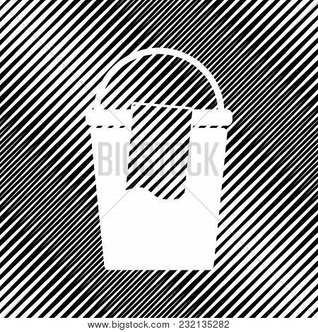 Bucket And A Rag Sign. Vector. Icon. Hole In Moire Background.