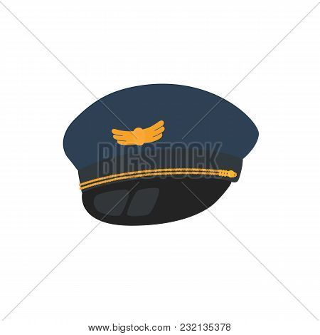 Pilot Hat Flat Design Style, Isolated On Background. Vector Illustration. Avatars Pilot.