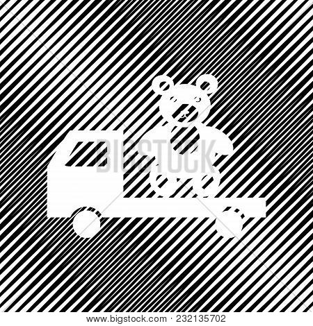 Truck With Bear. Vector. Icon. Hole In Moire Background.
