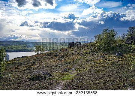 Murmansk, Russia-june 5, 2015: Natural Landscape With Tundra Vegetation Overlooking The Kola Bay.