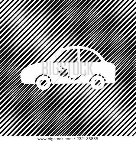 Electric Car Sign. Vector. Icon. Hole In Moire Background.