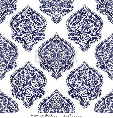 Blue And White Ornamental Seamless Pattern. Vintage, Paisley Elements. Ornament. Traditional, Ethnic